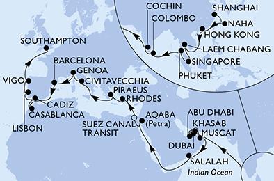 ���к����� MSC cruises ���к��Իͺ� MSC Splendida ֱ������ľ�ͷ������������56���ղ����������� 2020��2��14���Ϻ��Ǵ� ���߱��:7720021411