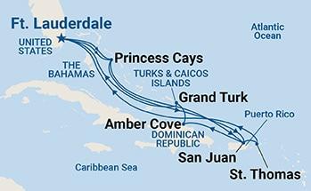 ¹«Ö÷ÓÊÂÖ Princess Cruises ¼ÓÀձȹ«Ö÷ºÅ Caribbean Princess 14Íí»·¼ÓÀձȺ£ÓÊÂÖÂÃÓÎ 2017-10-7À͵´ú¶û±¤µÇ´¬ º½Ïß±àºÅ:111729