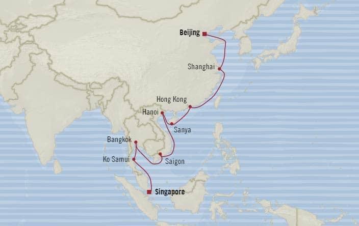 中国到新加坡地�_大洋邮轮 oceania cruises 英锡亚号 insignia 20晚从新加坡到中国