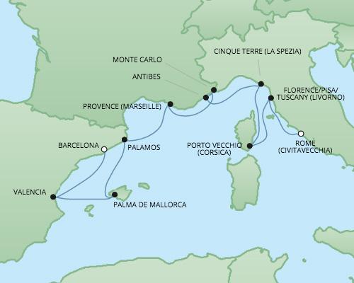 �����ߺ����� Regent Seven Seas Cruises �ߺ������Һ� Seven Seas Voyager 10��������������� (Civitavecchia)�������� 2017-6-18�������ǣ��������Ǵ� ���߱��:221525170618