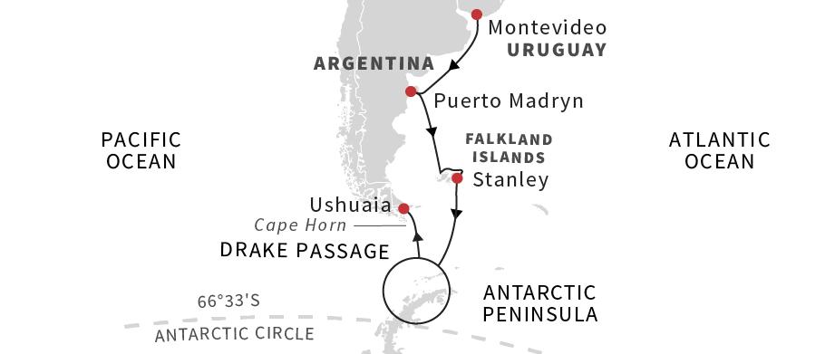 ����·������ Hurtigruten Cruise Line ��ҹ����� MS Midnatsol 17���ϼ����������� 2018-10-01�ɵ�ά���ǣ�Montevideo���Ǵ� ���߱��:771826393